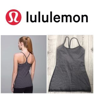 lululemon Power Y Tank Black & Grey Striped Tank 4